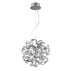 Elegant Lighting Chrome Tiffany 22in. Wide 13 Light Pendant with Elegant Cut Crystal