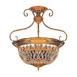 Crystorama Polished Brass European Classic 5 Light Semi Flush Ceiling Fixture