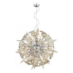 Cyan Designs Chrome Remy 16 Light Pendant with Brown Shade