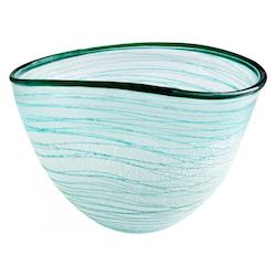 Cyan Designs Green And White Swirly 8 Inch Wide Glass Decorative Bowl
