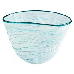 Cyan Designs Green And White Swirly 10.5 Inch Wide Glass Decorative Bowl