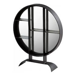 Cyan Designs Matte Black 27 x 22 Nexus Circular Iron Frame Mirror Made in India