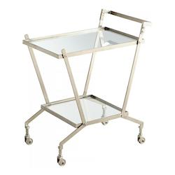 Cyan Designs Nickel Carrello 32.25 Inch Tall Iron and Glass Bar Cart Made in India