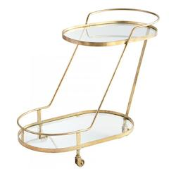 Cyan Designs Brass Patin 30.75 Inch Tall Iron and Glass Bar Cart Made in India