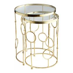 Cyan Designs Brass Perseus 18.25 Inch Diameter Iron and Glass Nesting Table Made in India