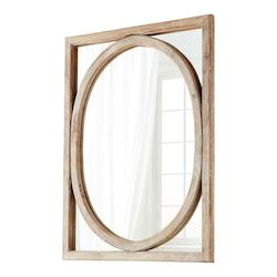 Cyan Designs Burnt White 49 x 37 Revolo Rectangular Wood Frame Mirror Made in India