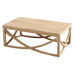 Cyan Designs Light French Grey Lancet 47 Inch Long Wood Coffee Table Made in India