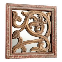 Cyan Designs Antique Cherry 10 x 10 Vinea Square Wood Frame Mirror Made in India