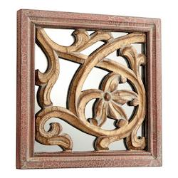 Cyan Designs Antique Cherry 10 x 10 Vite Square Wood and MDF Mirror Made in India