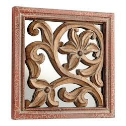 Cyan Designs Antique Cherry 10 x 10 Vigue Square Wood and MDF Mirror Made in India