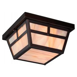 Nuvo Tanner 2 Lt Outdoor Flush Fixture W/ Honey Stained Glassin.