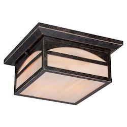 Nuvo Canyon 2 Lt Outdoor Flush Fixture W/ Honey Stained Glass - Umber Bronze