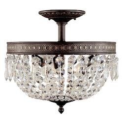 World Imports Three Light Bowl Semi-Flush Mount