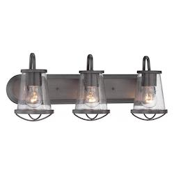 Designers Fountain Open Box Weathered Iron Darby 3 Light Bathroom Vanity Light