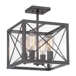 Designers Fountain Satin Bronze High Line 4 Light Semi-Flush Ceiling Fixture
