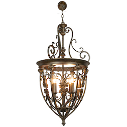 4 Light Hanging Lantern Light Fixture in Bronze Finish
