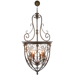 6 Light Hanging Lantern Light Fixture in Bronze Finish  - 345727