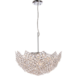 8 Light Crystal Bowl Pendant Light in Chrome Finish with a Crystal Shade  - 345729