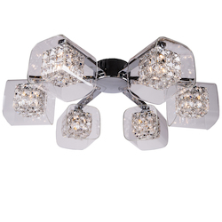 6 Light Semi Flush Mount Light in Chrome Finish with Clear Glass and Insets  - 345732