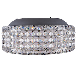 8 Light Flush Mount Light in Chrome Finish with Crystals and Built in LED Bulbs  - 345735