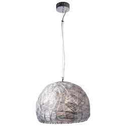 3 Light Pendant Light in Chrome Finish with Fabric Shade
