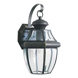 Forte One Light Royal Bronze Clear Beveled  Panels Glass Wall Lantern