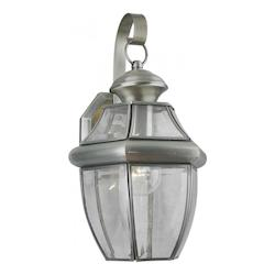 Forte One Light Antique Pewter Clear Beveled  Panels Glass Wall Lantern