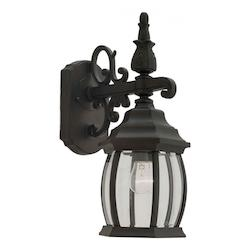 Forte One Light Black Clear Beveled  Panels Glass Wall Lantern