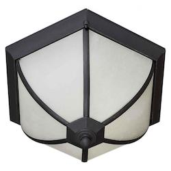 Forte Two Light Black Frosted Seeded Glass Outdoor Flush Mount