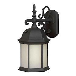 Forte One Light Black Frosted Seeded  Panels Glass Wall Lantern