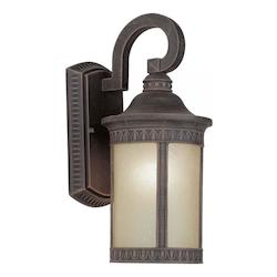 Forte One Light Painted Rust Umber Seeded Glass Wall Lantern