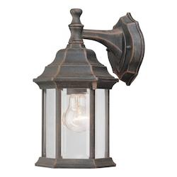 Forte One Light Painted Rust Clear Beveled  Panels Glass Wall Lantern