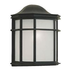 Forte One Light Black White Acrylic Panel Glass Wall Lantern