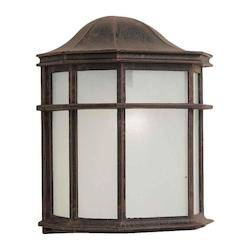 Forte One Light Painted Rust White Acrylic Panel Glass Wall Lantern