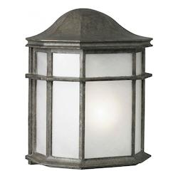 Forte One Light River Rock White Acrylic Panel Glass Wall Lantern
