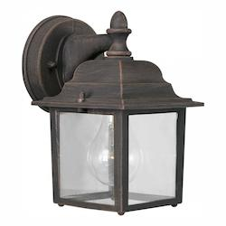 Forte One Light Painted Rust Clear  Panels Glass Wall Lantern