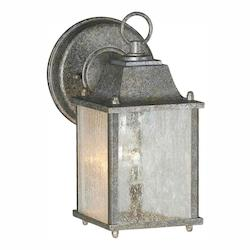 Forte One Light River Rock Clear Seeded  Panels Glass Wall Lantern