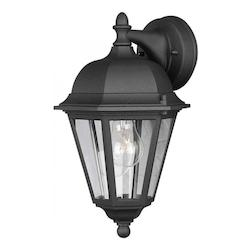 Forte One Light Black Clear  Panels Glass Wall Lantern
