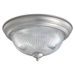Forte Two Light Brushed Nickel Clear Ribbed Glass Bowl Flush Mount
