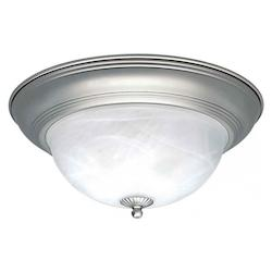 Forte Two Light Brushed Nickel Marble Glass Bowl Flush Mount