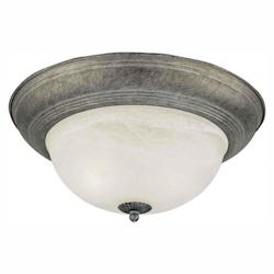 Forte Two Light River Rock Marble Glass Bowl Flush Mount