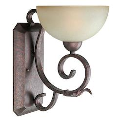 Forte One Light Black Cherry Umber Mist Glass Wall Light