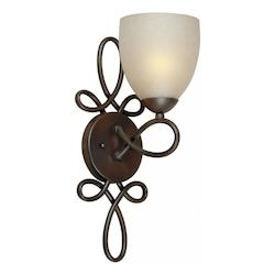 Forte One Light Antique Bronze Umber Linen Glass Wall Light