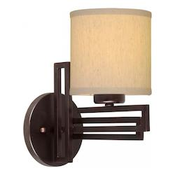 Forte One Light Antique Bronze Fabric Shade Wall Light