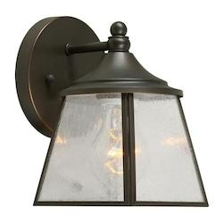 Forte One Light Royal Bronze Clear Seeded  Panels Glass Wall Lantern