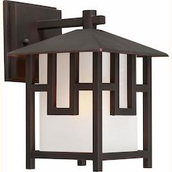 Forte One Light Antique Bronze Square White Linen Glass Wall Lantern