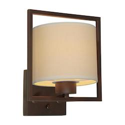Forte One Light Antique Bronze Creamcolored Fabric Shade Wall Light
