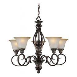 Forte Five Light Black Cherry Shaded Umber Glass Up Chandelier