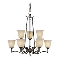 Forte Nine Light Bordeaux Tapioca Glass Up Chandelier
