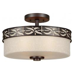 Forte Four Light Antique Bronze Umber Linen Glass Drum Shade Semi-Flush Mount